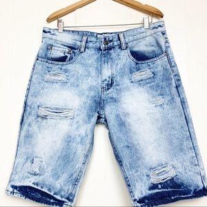 Vintage Jeanius acid wash distressed jean shorts